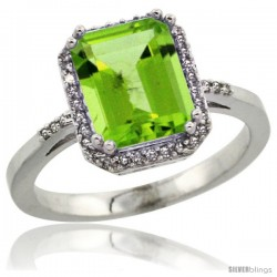 14k White Gold Diamond Peridott Ring 2.53 ct Emerald Shape 9x7 mm, 1/2 in wide