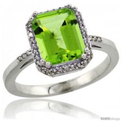 14k White Gold Diamond Peridott Ring 2.53 ct Emerald Shape 9x7 mm, 1/2 in wide