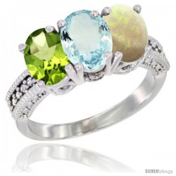 14K White Gold Natural Peridot, Aquamarine & Opal Ring 3-Stone 7x5 mm Oval Diamond Accent