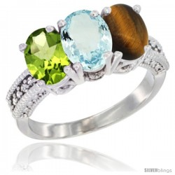 14K White Gold Natural Peridot, Aquamarine & Tiger Eye Ring 3-Stone 7x5 mm Oval Diamond Accent