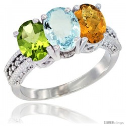 14K White Gold Natural Peridot, Aquamarine & Whisky Quartz Ring 3-Stone Oval 7x5 mm Diamond Accent