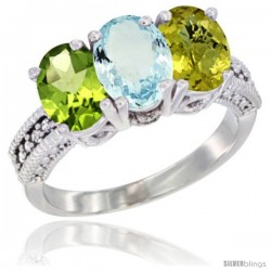 14K White Gold Natural Peridot, Aquamarine & Lemon Quartz Ring 3-Stone Oval 7x5 mm Diamond Accent