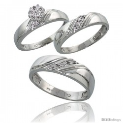 10k White Gold Diamond Trio Engagement Wedding Ring 3-piece Set for Him & Her 6 mm & 4.5 mm wide 0.10 cttw Brilliant Cut