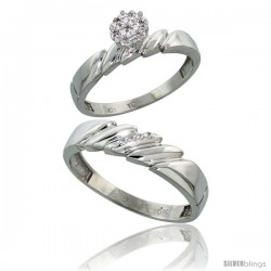 10k White Gold Diamond Engagement Rings 2-Piece Set for Men and Women 0.08 cttw Brilliant Cut, 4mm & 5mm wide