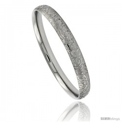 Stainless Steel Slip-on Bangle Bracelet Laser Etched Floral Pattern 5 1/6 in wide, size 7.5 in