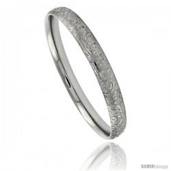 Stainless Steel Slip-on Bangle Bracelet Laser Etched Floral Pattern 5 1/6 in wide, size 7.5 in