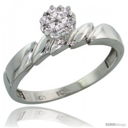 10k White Gold Diamond Engagement Ring 0.05 cttw Brilliant Cut, 5/32 in wide