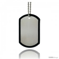 Stainless Steel Dog Tag and Silencer Full Size 2 x 1 1/4 in with 30 in 2 mm Ball Chain.
