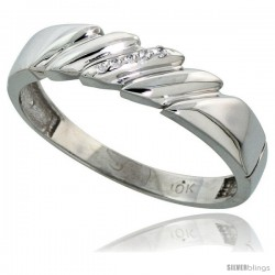 10k White Gold Mens Diamond Wedding Band Ring 0.03 cttw Brilliant Cut, 3/16 in wide -Style 10w011mb