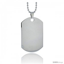Stainless Steel Dog Tag Heavy Gauge Full Size 2 x 1 1/4 in. with 24 in. 2 mm Ball Chain