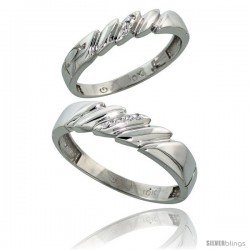 10k White Gold Diamond Wedding Rings 2-Piece set for him 5 mm & Her 4 mm 0.05 cttw Brilliant Cut