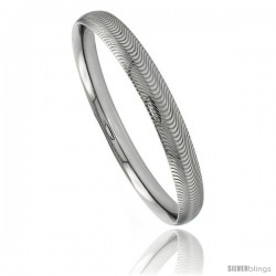 Stainless Steel Slip-on Bangle Bracelet Laser Etched Curvy Stripe Pattern 5 1/6 in wide, size 7.5 in