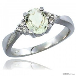 14k White Gold Ladies Natural Green Amethyst Ring oval 7x5 Stone Diamond Accent -Style Cw402168