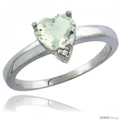 14K White Gold Natural Green Amethyst Heart-shape 7x7 Stone Diamond Accent
