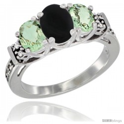 14K White Gold Natural Black Onyx & Green Amethyst Ring 3-Stone Oval with Diamond Accent