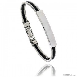 Stainless Steel Cable & Rubber ID Bracelet, 5/16 in wide
