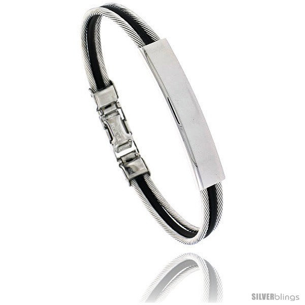 https://www.silverblings.com/1390-thickbox_default/stainless-steel-cable-rubber-id-bracelet-5-16-in-wide.jpg