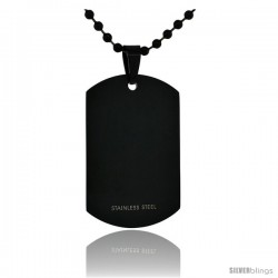 Stainless Steel Dog Tag Full Size 2 x 1 1/4 in. Heavy Gauge with 24 in. 2 mm Ball Chain, Black Finish