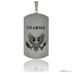 Stainless Steel US Army Dog Tag Pendant, 1 3/4 x 15/16 in (43mm x 24 mm), w/ 24 in. 2 mm Ball Chain
