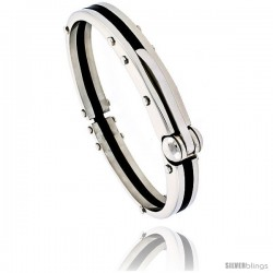 Stainless Steel & Rubber Bangle Bracelet 3/8 in wide, 8 in long