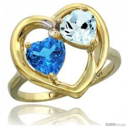 10k Yellow Gold 2-Stone Heart Ring 6mm Natural Swiss Blue & Aquamarine