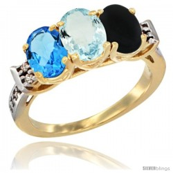 10K Yellow Gold Natural Swiss Blue Topaz, Aquamarine & Black Onyx Ring 3-Stone Oval 7x5 mm Diamond Accent