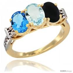 10K Yellow Gold Natural Swiss Blue Topaz, Aquamarine & Black Onyx Ring 3-Stone Oval 7x5 mm Diamond Accent