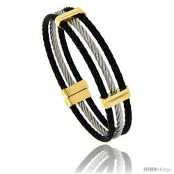 Stainless Steel Cable Cuff Bangle Bracelet 3-Tone, 7 in
