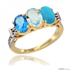 10K Yellow Gold Natural Swiss Blue Topaz, Aquamarine & Turquoise Ring 3-Stone Oval 7x5 mm Diamond Accent