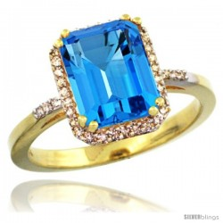 10k Yellow Gold Diamond Swiss Blue Topaz Ring 2.53 ct Emerald Shape 9x7 mm, 1/2 in wide