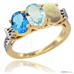 10K Yellow Gold Natural Swiss Blue Topaz, Aquamarine & Opal Ring 3-Stone Oval 7x5 mm Diamond Accent