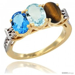 10K Yellow Gold Natural Swiss Blue Topaz, Aquamarine & Tiger Eye Ring 3-Stone Oval 7x5 mm Diamond Accent