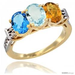 10K Yellow Gold Natural Swiss Blue Topaz, Aquamarine & Whisky Quartz Ring 3-Stone Oval 7x5 mm Diamond Accent