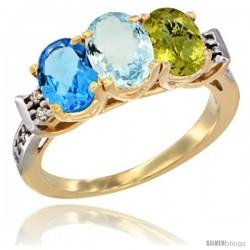10K Yellow Gold Natural Swiss Blue Topaz, Aquamarine & Lemon Quartz Ring 3-Stone Oval 7x5 mm Diamond Accent