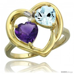 14k Yellow Gold 2-Stone Heart Ring 6mm Natural Amethyst & Aquamarine Diamond Accent