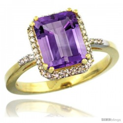14k Yellow Gold Diamond Amethyst Ring 2.53 ct Emerald Shape 9x7 mm, 1/2 in wide