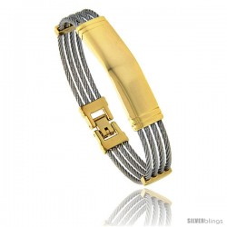 Stainless Steel Cable Bangle ID Bracelet 2-Tone, 7 in