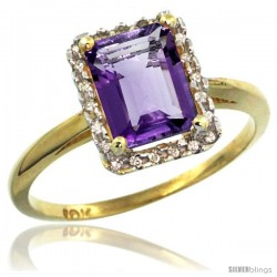 14k Yellow Gold Diamond Amethyst Ring 1.6 ct Emerald Shape 8x6 mm, 1/2 in wide