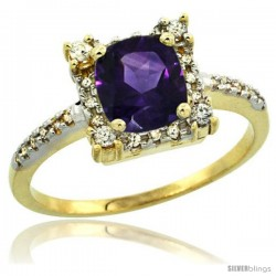14k Yellow Gold Diamond Halo Amethyst Ring 1.2 ct Checkerboard Cut Cushion 6 mm, 11/32 in wide