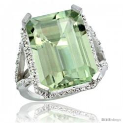 Sterling Silver Diamond Green-Amethyst Ring 14.96 ct Emerald Shape 18x13 Stone 13/16 in wide