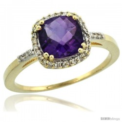 14k Yellow Gold Diamond Amethyst Ring 1.5 ct Checkerboard Cut Cushion Shape 7 mm, 3/8 in wide