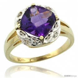 14k Yellow Gold Diamond Halo Amethyst Ring 2.7 ct Checkerboard Cut Cushion Shape 8 mm, 1/2 in wide