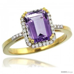14k Yellow Gold Diamond Amethyst Ring 1.6 ct Emerald Shape 8x6 mm, 1/2 in wide -Style Cy401129