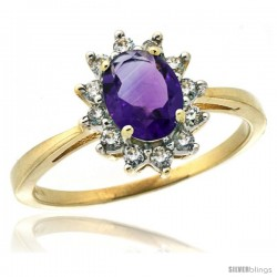 14k Yellow Gold Diamond Halo Amethyst Ring 0.85 ct Oval Stone 7x5 mm, 1/2 in wide