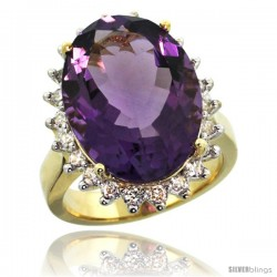 14k Yellow Gold Diamond Halo Amethyst Ring 10 ct Large Oval Stone 18x13 mm, 7/8 in wide