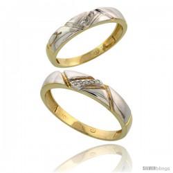 10k Yellow Gold Diamond 2 Piece Wedding Ring Set His 4.5mm & Hers 4mm