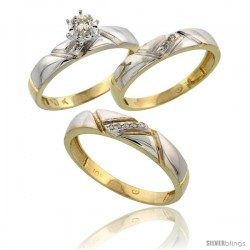 10k Yellow Gold Diamond Trio Wedding Ring Set His 4.5mm & Hers 4mm