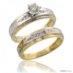 10k Yellow Gold Ladies' 2-Piece Diamond Engagement Wedding Ring Set, 3/16 in wide -Style 10y113e2