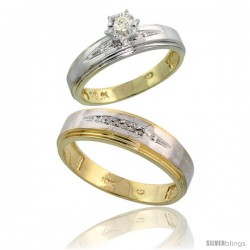 10k Yellow Gold 2-Piece Diamond wedding Engagement Ring Set for Him & Her, 5mm & 6mm wide -Style 10y113em