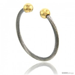 Stainless Steel Cable Golf Bracelet Bio Magnetic Gold-tone Ball Ends, 7 in